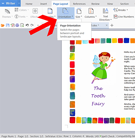 printer orientation setting to print tooth fairy letters