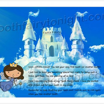 Cloud Castle Letter - tooth fairy arrives back at her castle made from clouds