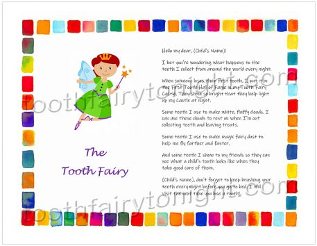 Tooth Fairy wearing lovely green dress, watercolor block border