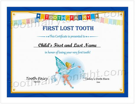 Tooth Fairy First Lost Tooth Certificate. Personalize with name and date.