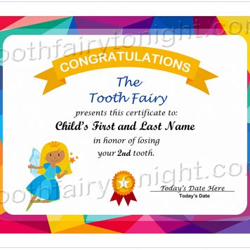 Tooth Fairy Tooth Count Certificate. The Tooth Fairy is wearing a bright, blue dress and carrying a wand. A multicolored border highlights this certificate.