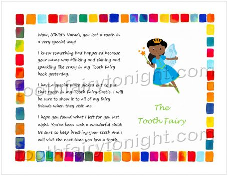 Tooth Fairy Letter - blue dress and wings, gold wand and tiara