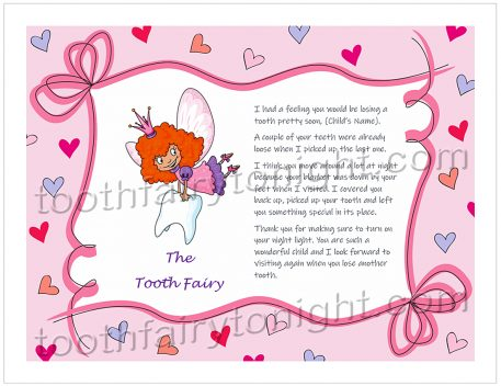 Tooth Fairy Festive Hearts Letter