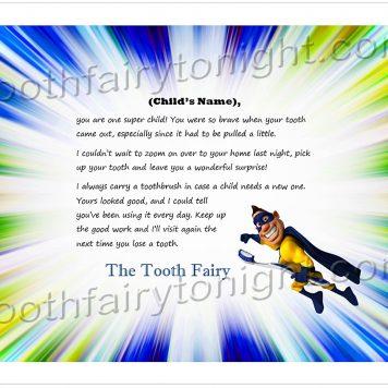 Tooth Fairy Vibrant Superhero Letter Image