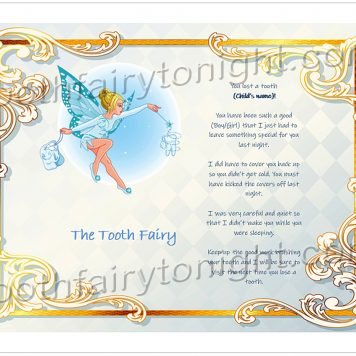 Tooth Fairy Gold Swirls letter. The Tooth Fairy has a stunning blue outfit and bright blue wings while collecting teeth from children.
