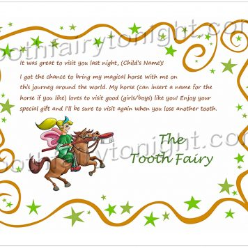 Tooth Fairy Stars and Horse letter. The Tooth Fairy is riding a magical horse.