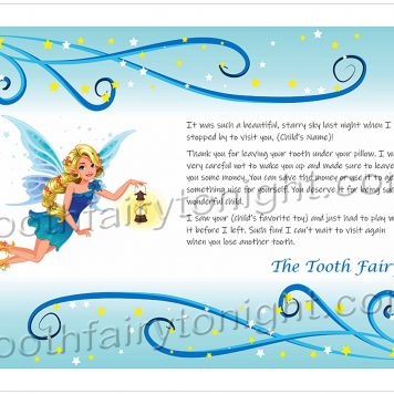 Tooth Fairy Stars and Lantern letter