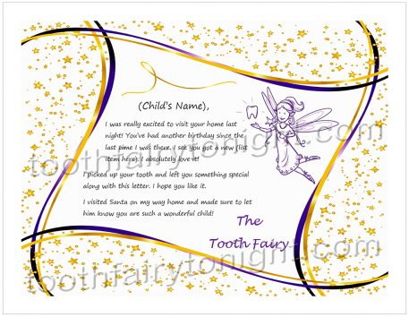 Pencil drawn Tooth Fairy highlighted by lot of gold stars and gold/purple ribbons.