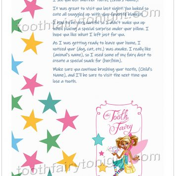 Tooth Fairy with pigtails, pink wings, carrying yellow purse and child's tooth. Flowing pastel stars.